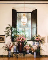 johanna erik wedding reception foyer window and flowers