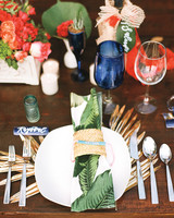 Tropical Red and Green Table Setting & 18 Creative Ways to Set Your Reception Tables | Martha Stewart Weddings