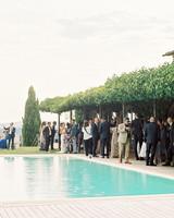 kseniya sadhir wedding cocktail hour outdoor by pool