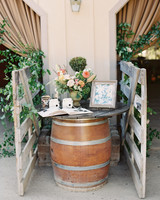 laurie michael wedding guestbook on barrel