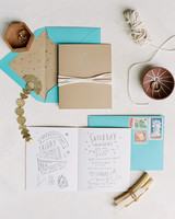 natural stationary suite contained in teal envelope
