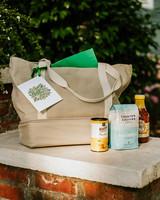 leah michael wedding welcome bag on brick stoop
