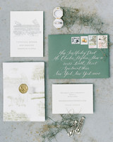 moss green and white stationary suit with vintage accents
