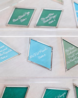 sea glass escort cards seating arrangement