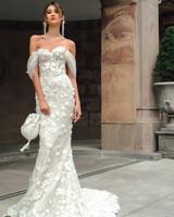 mira zwillinger dress fall 2019 mermaid sweetheart off the shoulder sheer sleeves floral applique hand bag