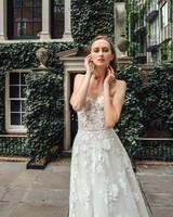 mira zwillinger dress fall 2019 a line sweetheart strapless floral applique belt