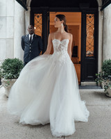mira zwillinger dress fall 2019 ball gown sweetheart spaghetti strap floral applique tulle bow belt