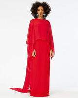 mother of the bride dress red peasant column gown