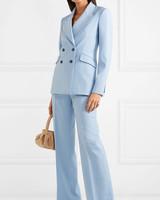 Double-Breasted Wool-Blend Blazer Wool-Blend Wide-Leg pants