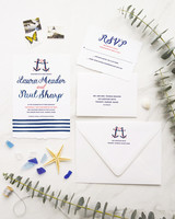 nautical invitation set two anchors with pink rope
