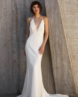 nouvelle amsale dress fall 2018 deep v-neck halter trumpet