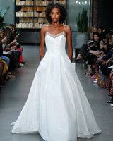 nouvelle amsale wedding dress spaghetti strap satin a-line