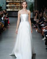 nouvelle amsale wedding dress satin a-line spaghetti strap ties