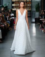nouvelle amsale wedding dress lace a-line deep v-neck
