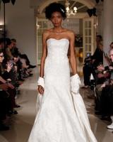 oleg cassini spring 2019 lace wedding dress strapless sweetheart neckline