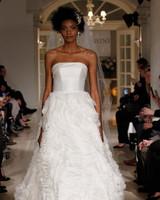 oleg cassini spring 2019 strapless wedding dress ruffle skirt