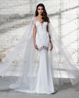 pnina tornai wedding dress spring 2019 trumpet cape deep v