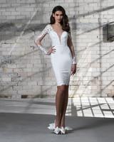 pnina tornai wedding dress spring 2019 short lace v-neck