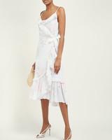 floral pattern ruffled cotton wrap dress