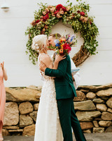 rose chris wedding bride and groom first kiss