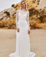savannah miller fall 2018 long sleeve high neck lace wedding dress