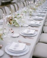 sloan scott wedding long white table reception