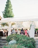 white tent wedding reception area