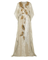 Oscar de la Renta embellished metallic silk-blend lame gown