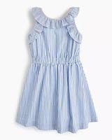 summer flower girl dress blue white stripes