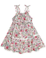 summer flower girl outfit floral tie strap dress