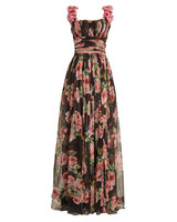 Dolce & Gabbana Rose-Print Silk Tulle Gown
