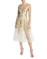 Oscar de la Renta Embellished Illusion Tulle Cocktail Dress