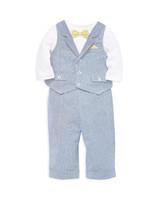 Little Me Three-Piece Bow Tie Bodysuit, Vest, and Pants Set