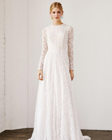 Long sleeved wedding dresses we love martha stewart weddings tadashi shoji wedding dress spring 2019 long sleeves lace a line junglespirit
