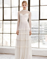 tadashi shoji wedding dress spring 2019 long sleeves illusion tiers