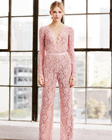 tadashi shoji wedding dress spring 2019 pink lace jumpsuit pants long sleeves
