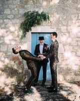 thomas jared wedding ceremony couple laughing