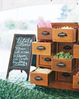 Wedding Flower Petal Bar, Card Catalogue with Petals