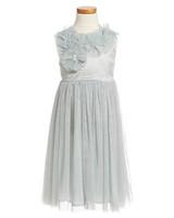 silver flower girl dress