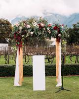 yolana douglas wedding outside ceremony arch