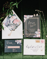 Dark gray and floral wedding invitations with calligraphy