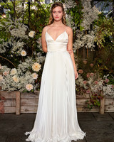 alexandra grecco wedding dress spaghetti strap with accordion pleats