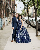 starry navy wedding dress