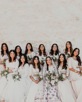 bride posing with eleven bridesmaids with pearl border and sheer gowns