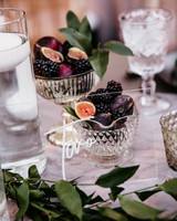 wedding table number goblets of mixed berries and figs