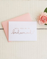 be my bridesmaid rose gold card