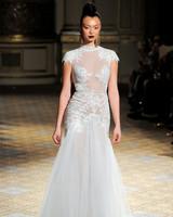 berta cap sleeves high neck sheer wedding dress spring 2018
