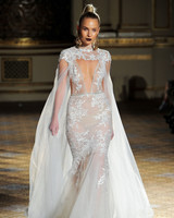 berta cut out sheer high neck cape wedding dress spring 2018