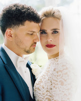 bold lipstick bride and groom close up