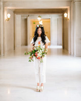 728812c8270 Real Brides Who Nailed the Bridal Jumpsuit Look